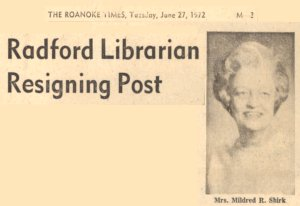 Shirk Redford Librarian Resigning Post Newspaper Clipping